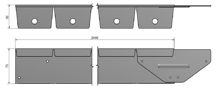 Flexline kantopsluiting 75 mm. afmetingen