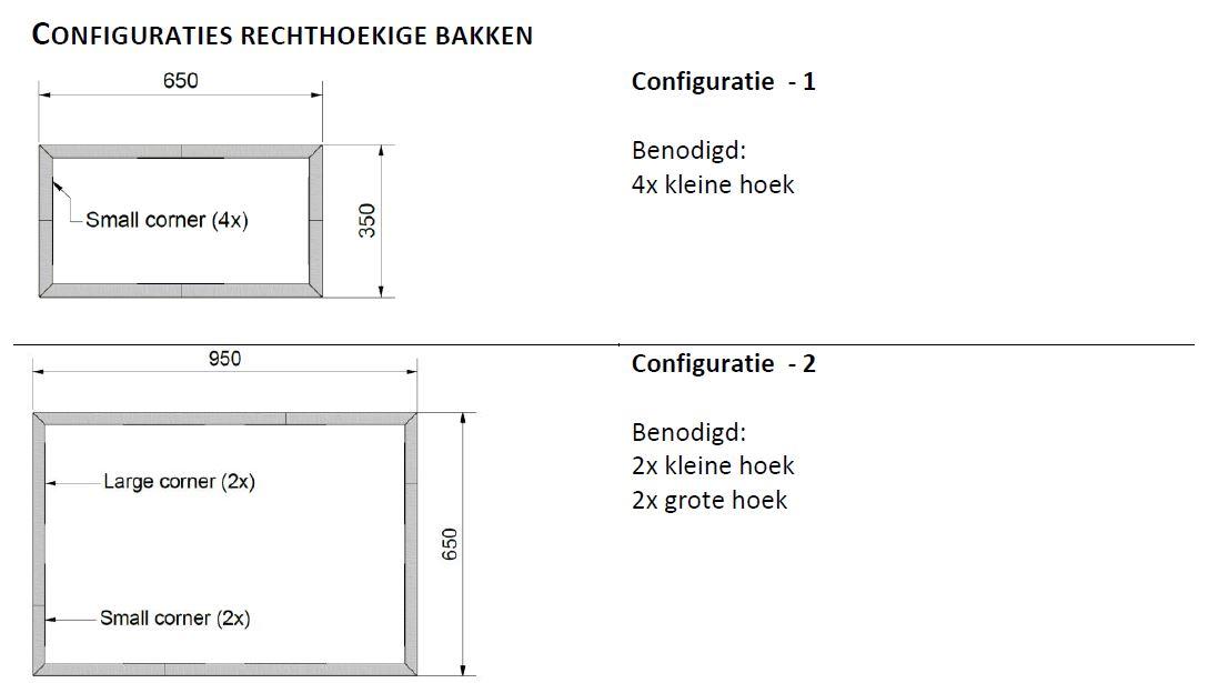 Straightcurve Box - Rechthoekig configuratie 1 en 2