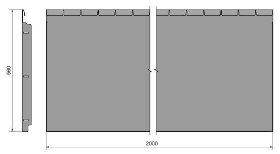 Straightcurve Flexline 560 mm. afmetingen
